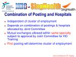 combination of posting and hospitals