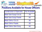 positions available for house officers