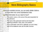 more bibliography basics