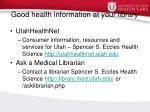 good health information at your library