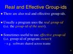 real and effective group ids