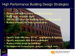 high performance building design strategies