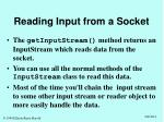 reading input from a socket
