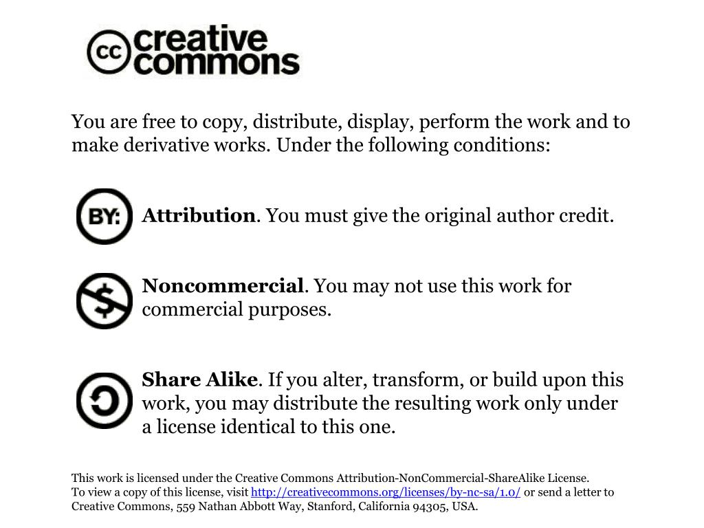 You are free to copy, distribute, display, perform the work and to make derivative works. Under the following conditions: