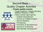second base quality chapter activities