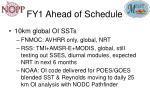 fy1 ahead of schedule