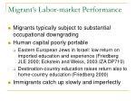 migrant s labor market performance