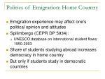 politics of emigration home country