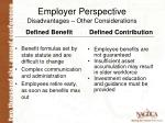 employer perspective disadvantages other considerations