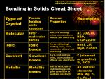 bonding in solids cheat sheet