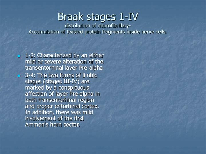 1-2: Characterized by an either mild or severe alteration of the transentorhinal layer Pre-alpha
