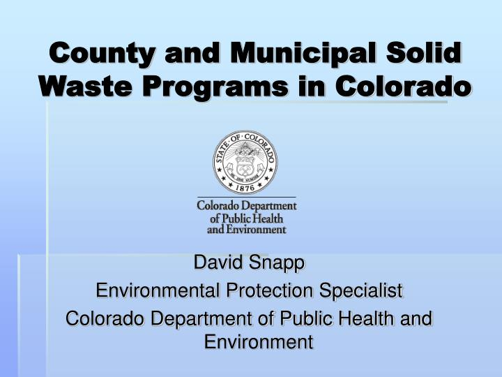 county and municipal solid waste programs in colorado n.