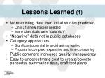 lessons learned 1