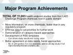 major program achievements