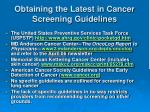 obtaining the latest in cancer screening guidelines