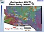 southwestern wild fire events during summer 02