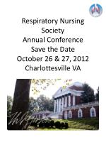 respiratory nursing society annual conference save the date october 26 27 2012 charlottesville va