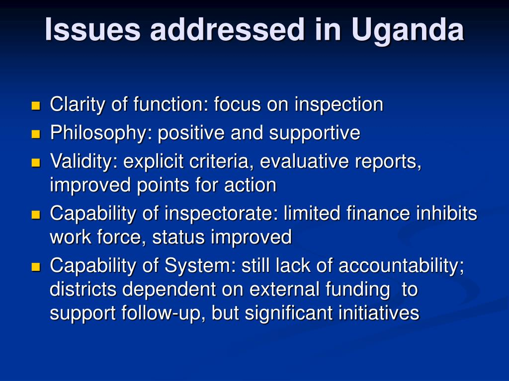Issues addressed in Uganda