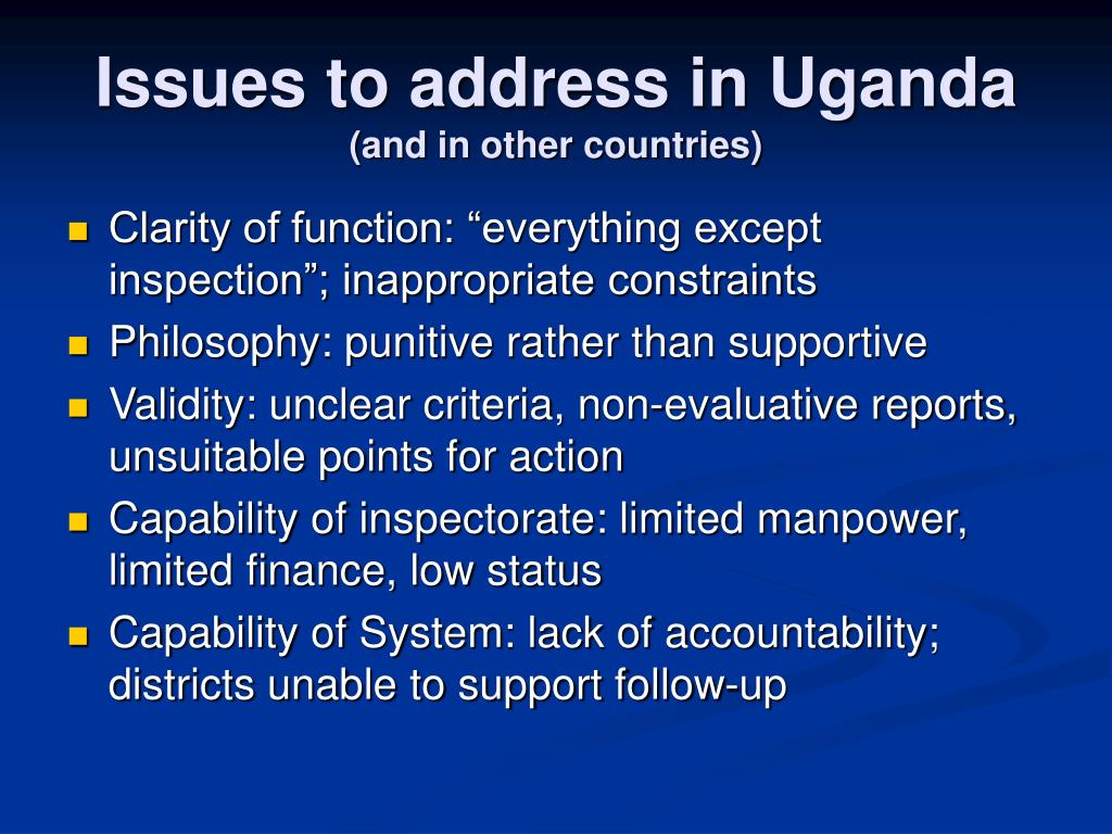 Issues to address in Uganda