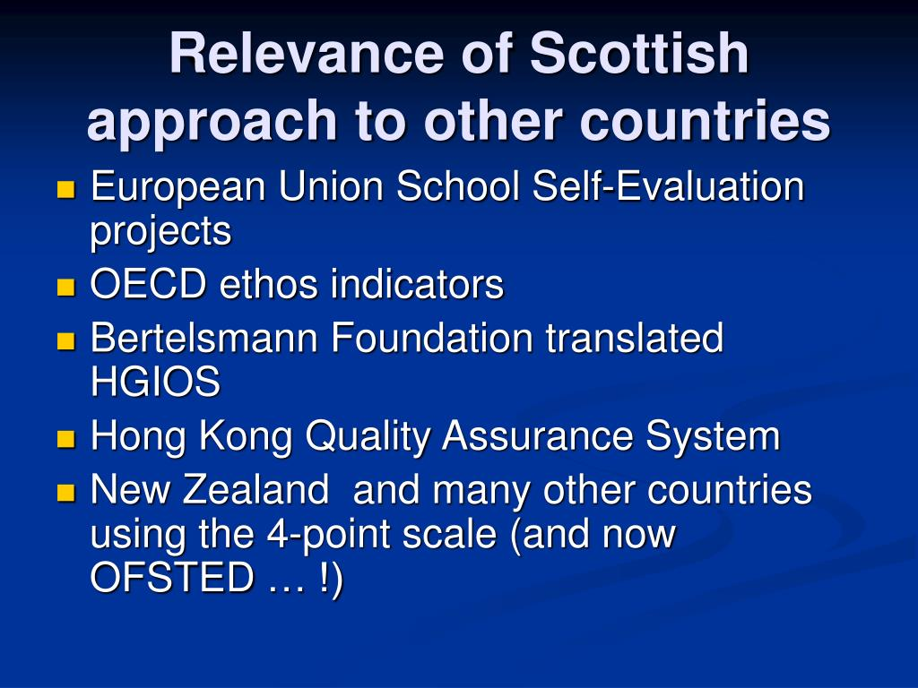 Relevance of Scottish approach to other countries