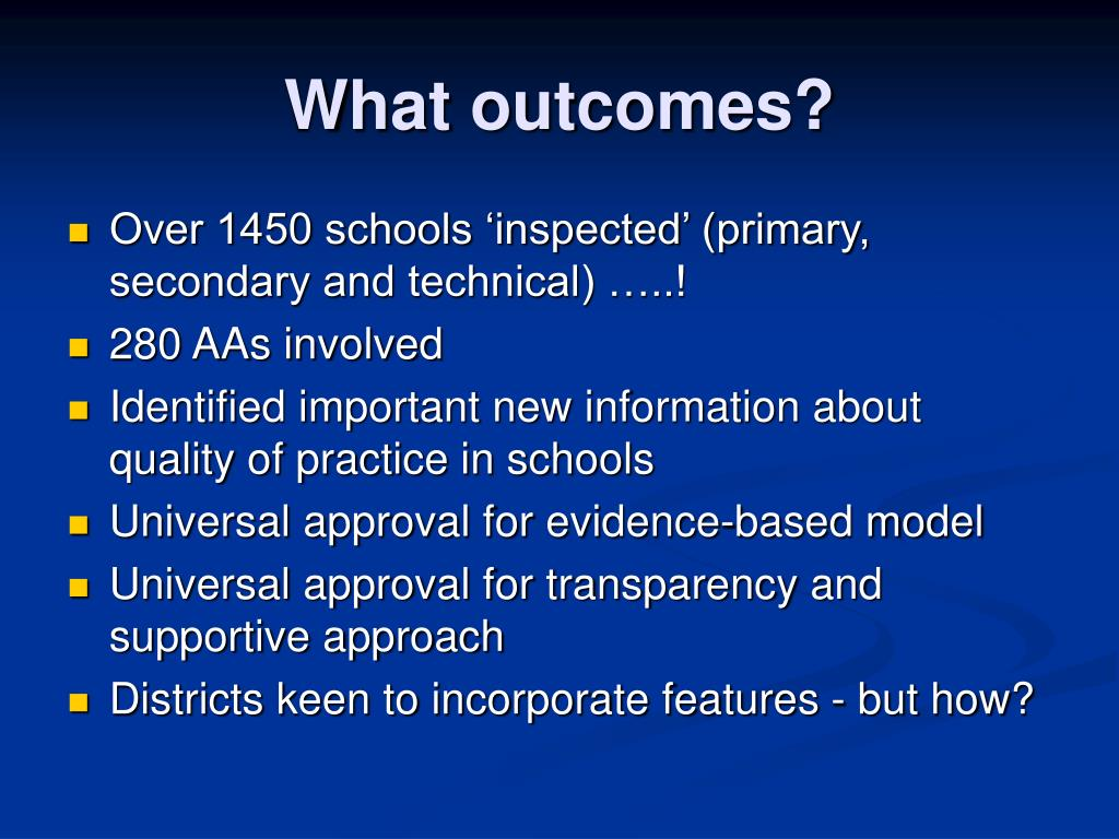 What outcomes?