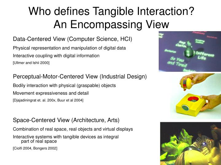 who defines tangible interaction an encompassing view n.