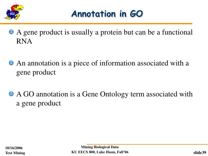 Annotation in GO