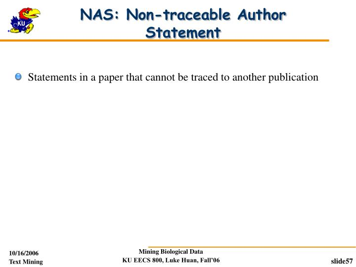 NAS: Non-traceable Author Statement