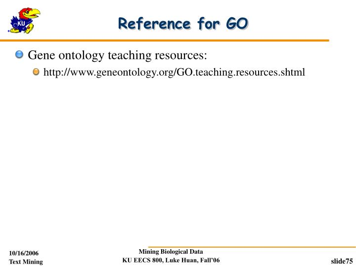 Reference for GO