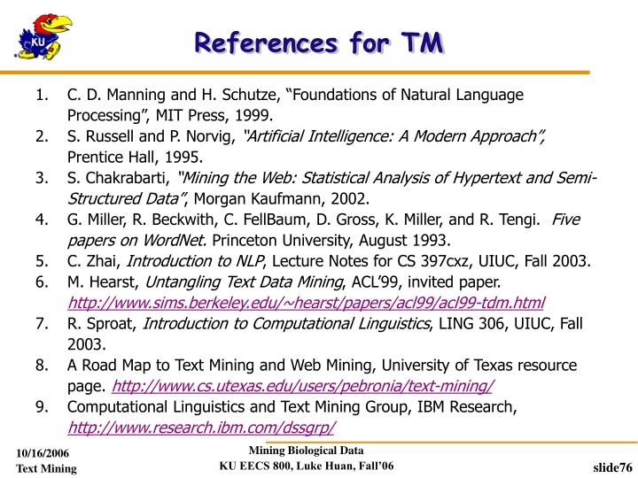 References for TM