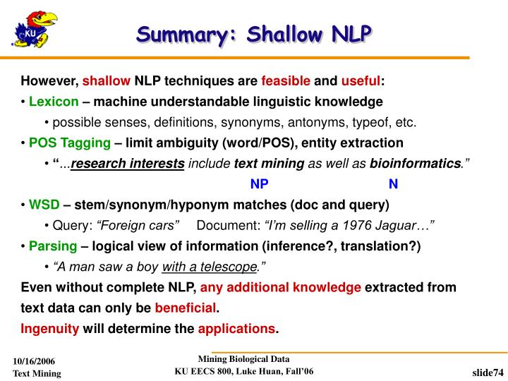 Summary: Shallow NLP