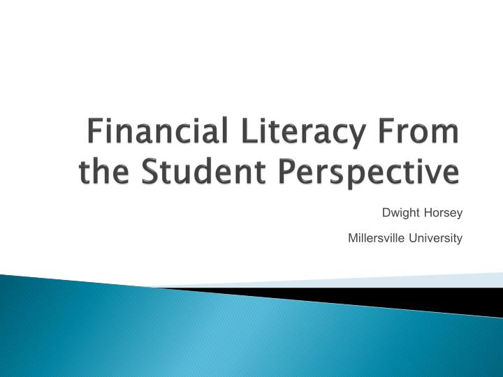 financial literacy from the student perspective n.