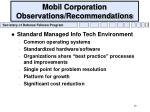 mobil corporation observations recommendations