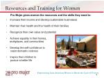 resources and training for women