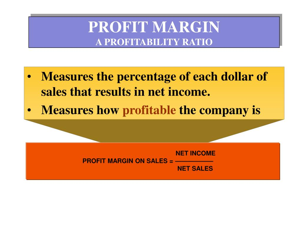 NET INCOME                                     PROFIT MARGIN ON SALES = ——————                                                                                                                                                                                                                                                                                           NET SALES