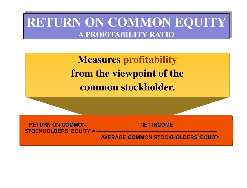 RETURN ON COMMON                                     NET INCOME                                     STOCKHOLDERS' EQUITY = ———————————————————————                                                                                                                                                                                                                                                                                   AVERAGE COMMON STOCKHOLDERS' EQUITY