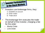 investor participation in the stock markets