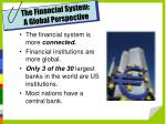 the financial system a global perspective