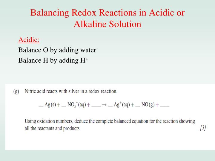 Balancing Redox Reactions in Acidic or Alkaline Solution