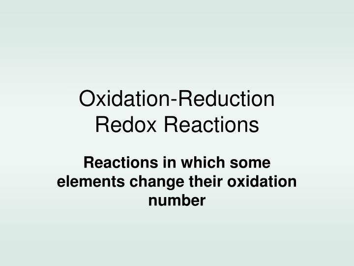 Oxidation reduction redox reactions