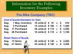 information for the following inventory examples