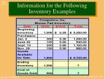 information for the following inventory examples1