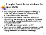 example tape of the last minutes of the space shuttle