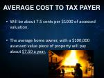 average cost to tax payer