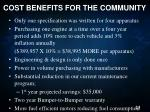 cost benefits for the community