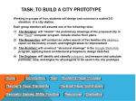 task to build a city prototype