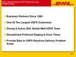 dhl global mail us postal service relationship