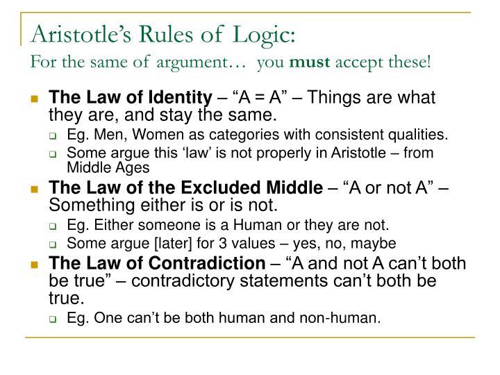 Aristotle's Rules of Logic: