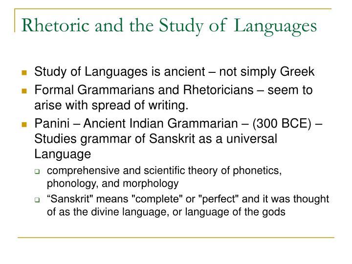 Rhetoric and the Study of Languages