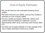 cost of equity estimates